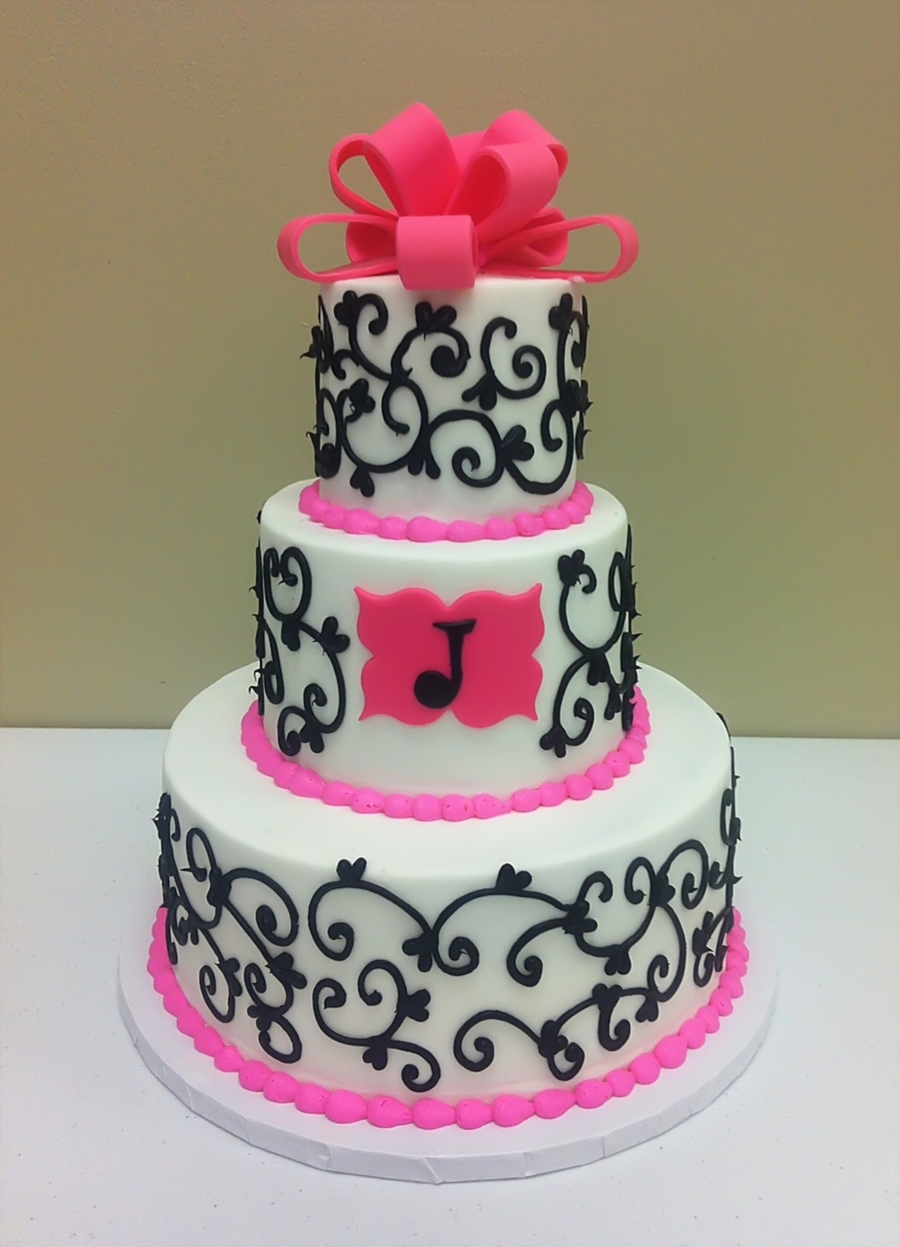 Pink, Black & White Scroll Shower Cake on Cake Central
