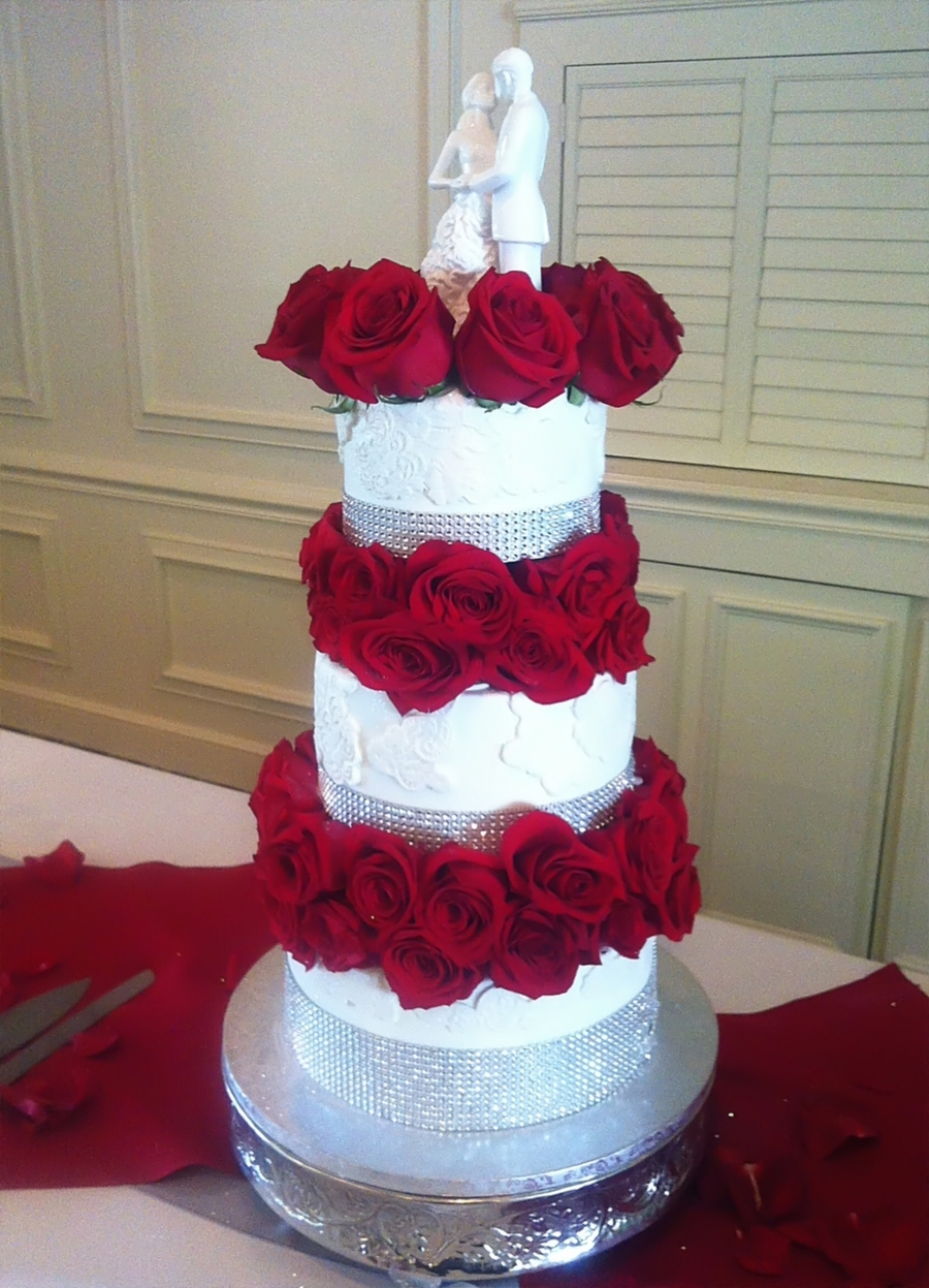 Wedding Cake With Rose Separators on Cake Central