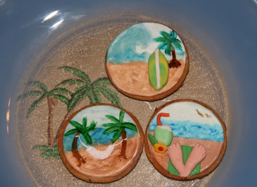 My Vacation Cookies Decorated With Fondant And Hand Painted on Cake Central