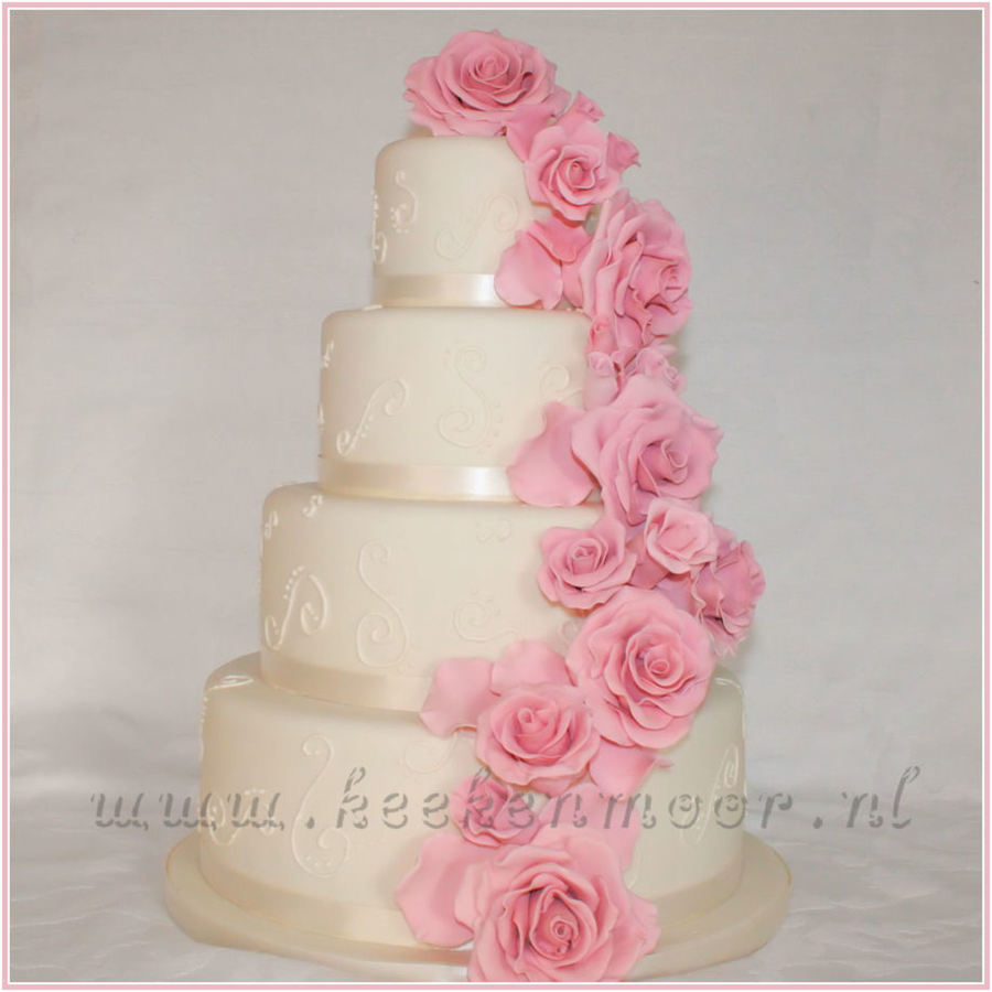 Sweet Roses Weddingcake on Cake Central