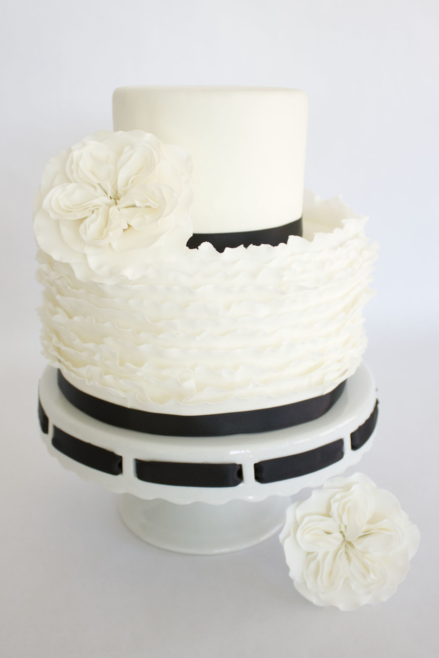 Fondant Ruffle Cake With English Cabbage Roses on Cake Central