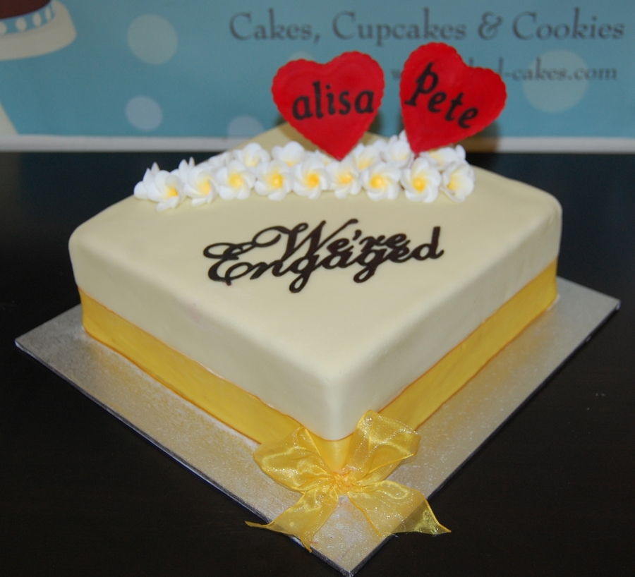 Frangipani Engagement Cake  on Cake Central