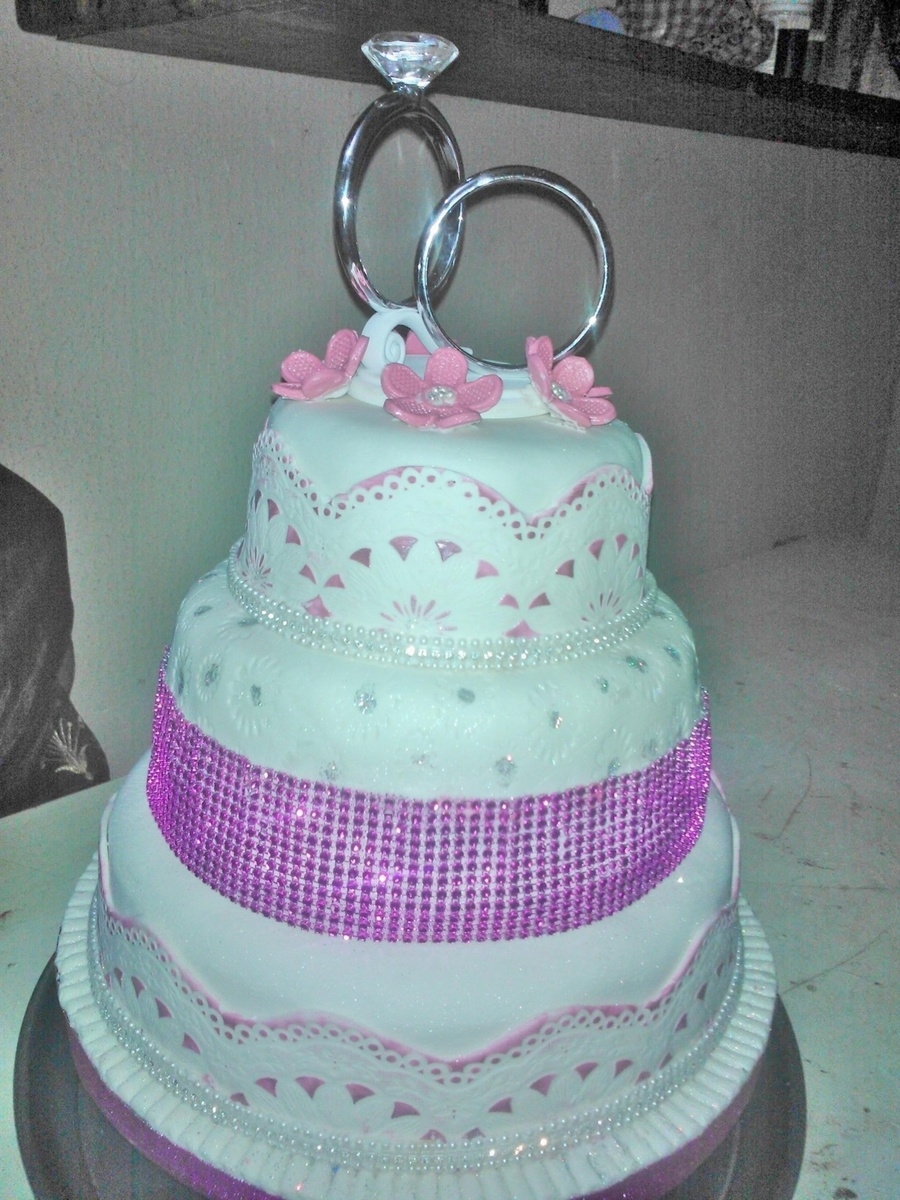 Round Fondant Wedding Cake In Fuscia Pink on Cake Central
