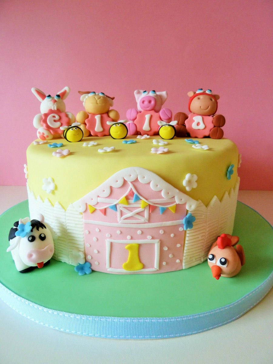 Farm Animals First Birthday Cake CakeCentralcom