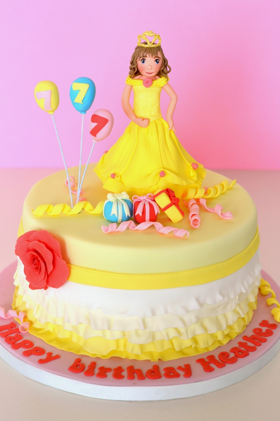 Yellow Princess Ruffles Birthday Cake on Cake Central