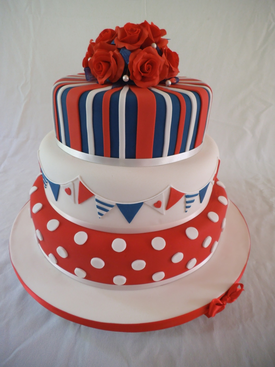Pokadots Bunting And Red White And Blue Stripes on Cake Central