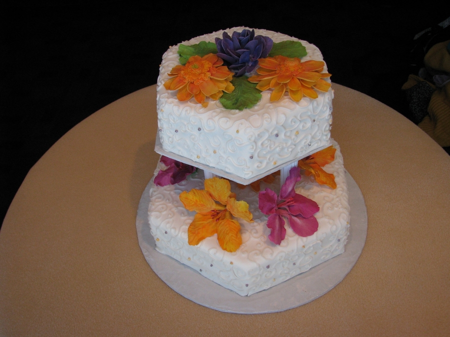 Wedding Cake With Gum Paste Flowers on Cake Central