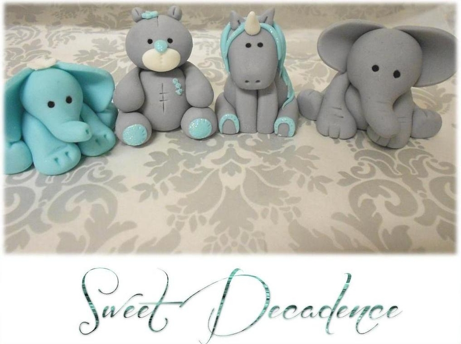 baby shower cupcake or cake toppers baby elephants baby unicorn