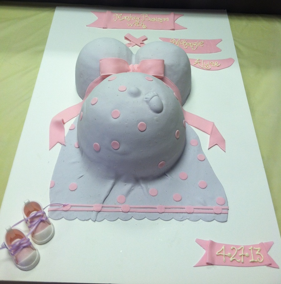 Pregnant Belly Baby Shower Cake W/footprint And Gumpaste