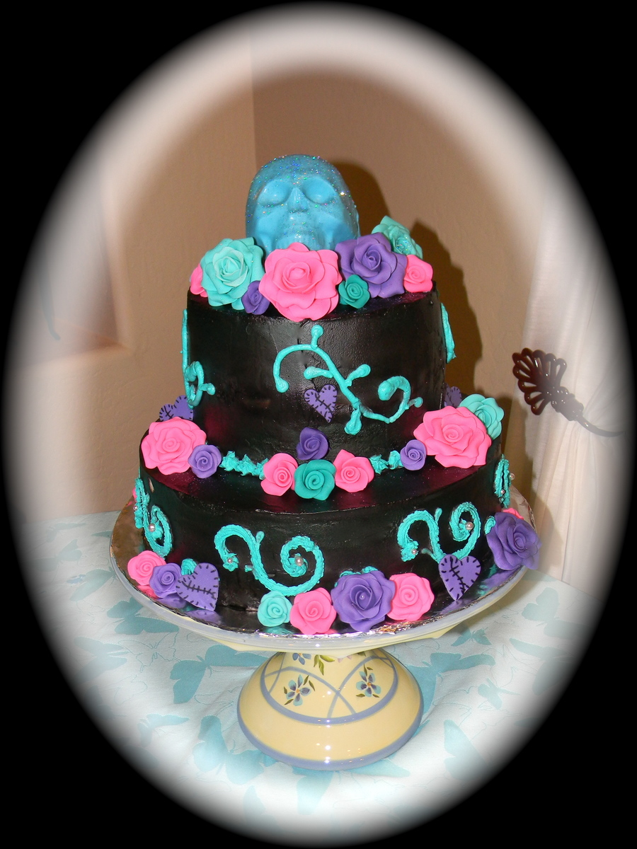 Dia Del Los Muertos Birthday Cakeair Brushed Black With Fondant Roses And Whip Cream Frosting on Cake Central