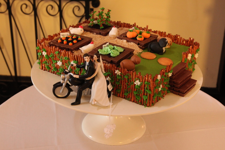Grooms Cake With A Farm Theme Vanilla Almond Cake Fondant ...