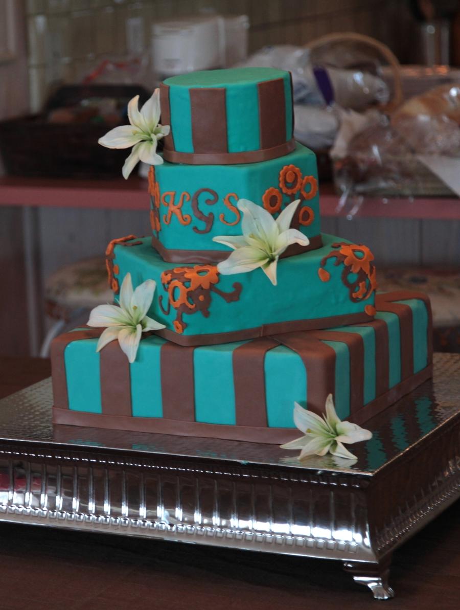 Wedding Cake Chocolate Brown Teal