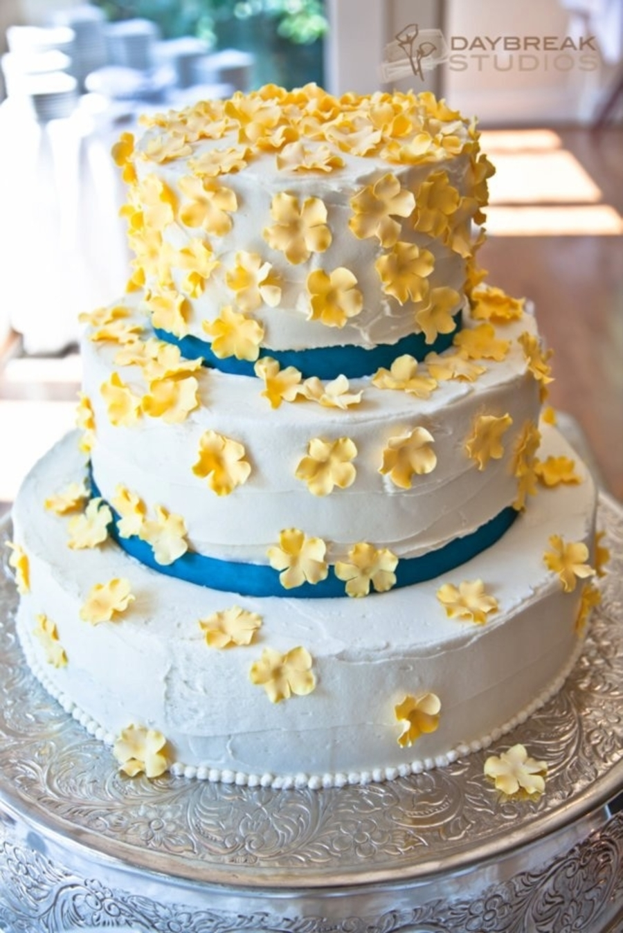 Yellow Flowers Wedding Cake - CakeCentral.com