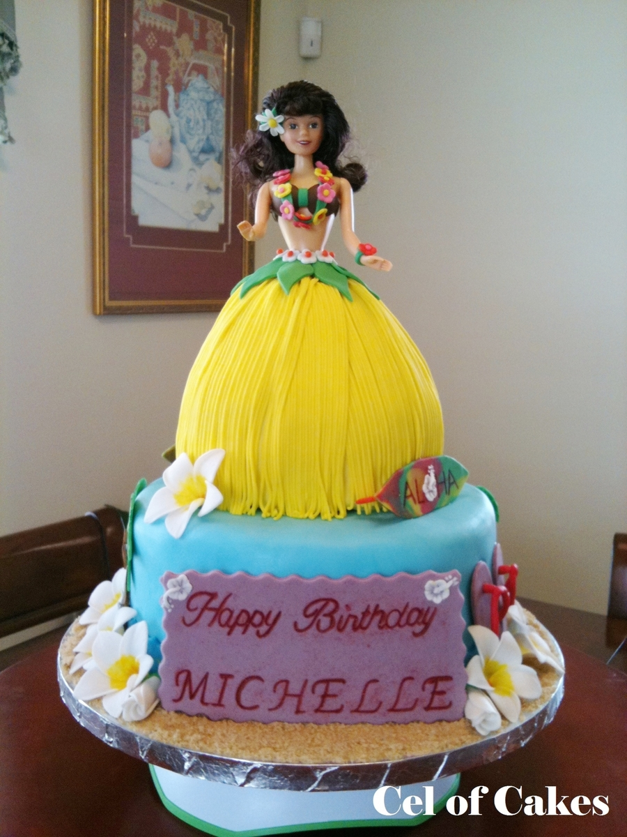 Hawaiian 'hula' Barbie Cake on Cake Central