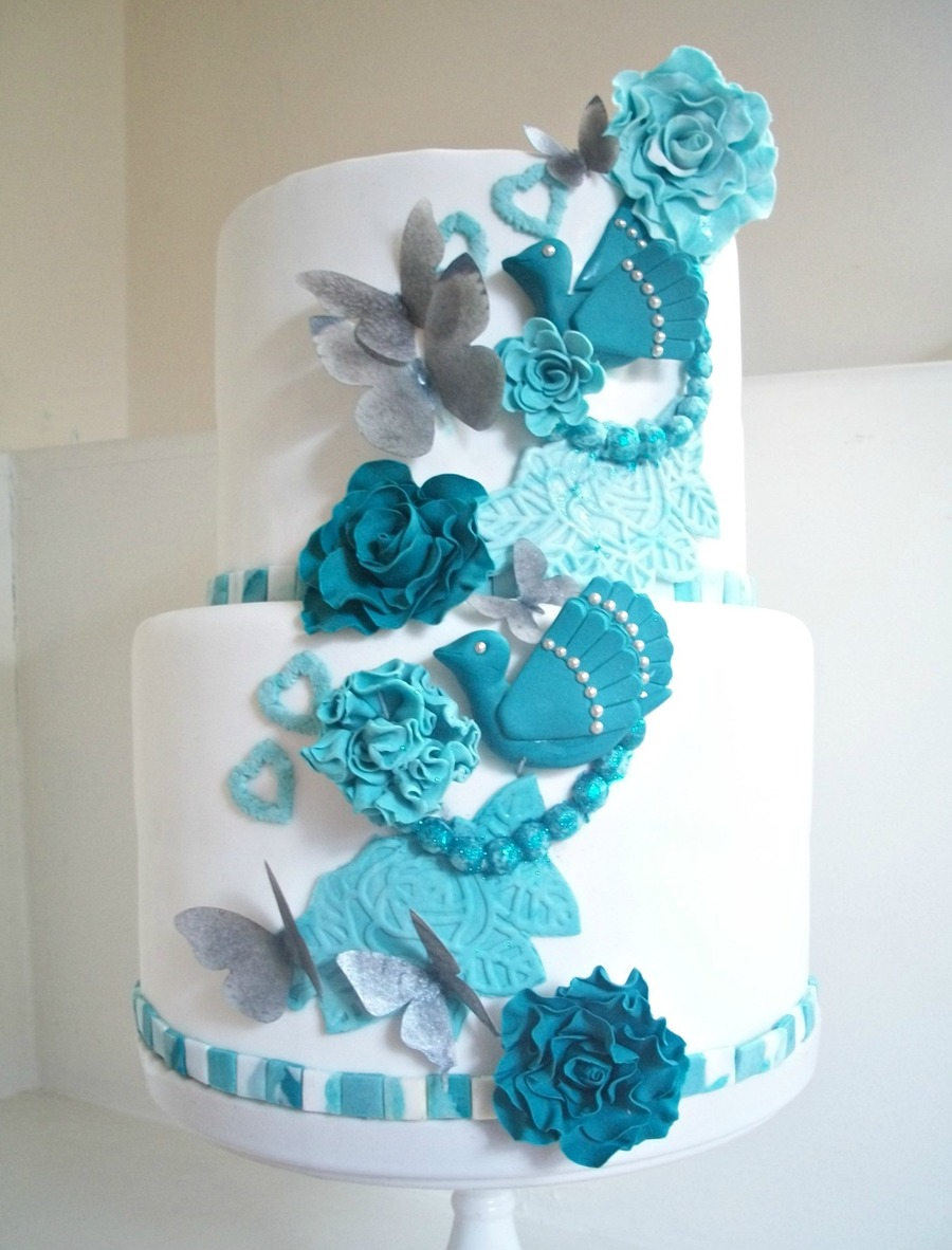 Teal White And Silver on Cake Central