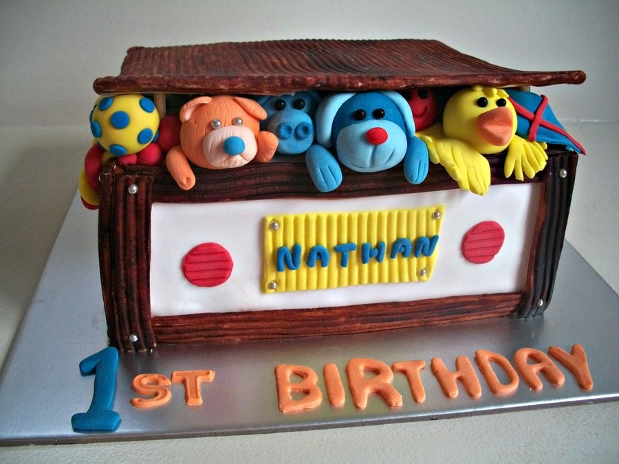 Box Of Toys For A Boy That Is One Today on Cake Central