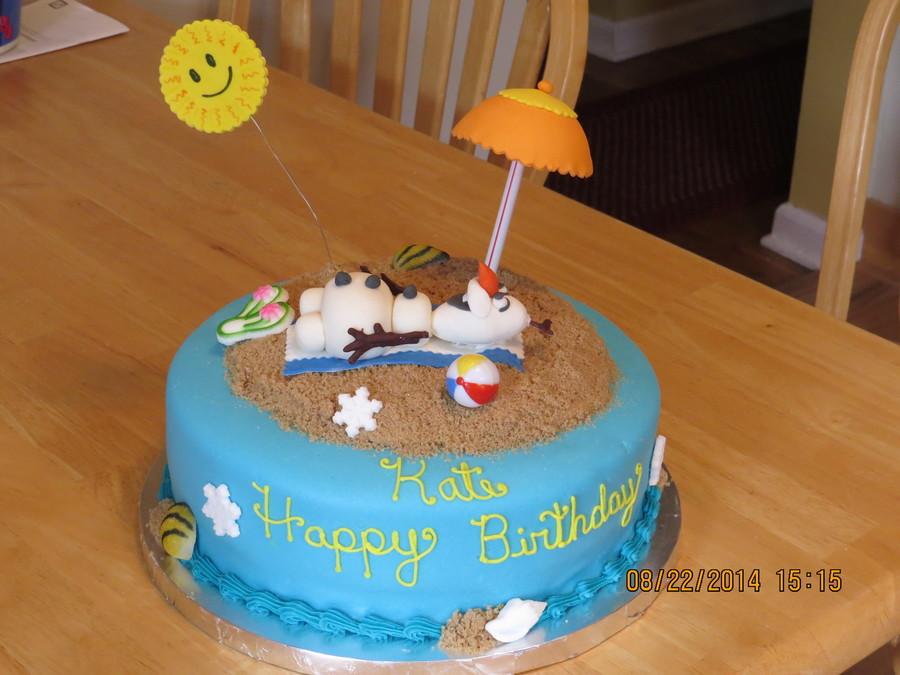 Olaf On The Beach Birthday Cake Cakecentral