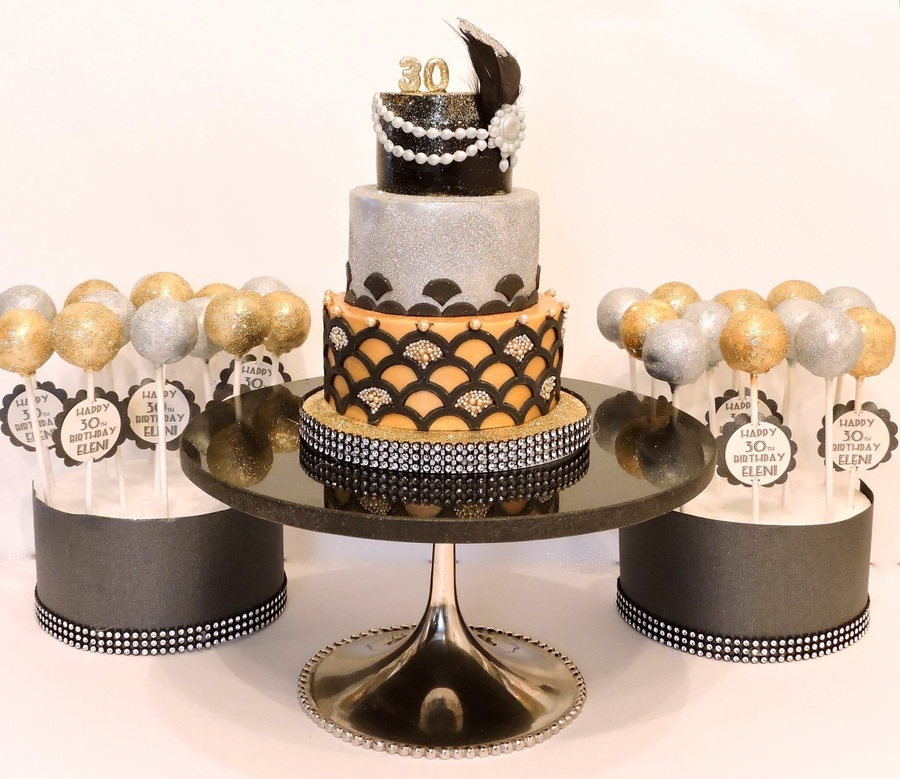 3 Tier Gatsby Inspired Mini Cake In Gold Amp Silver With