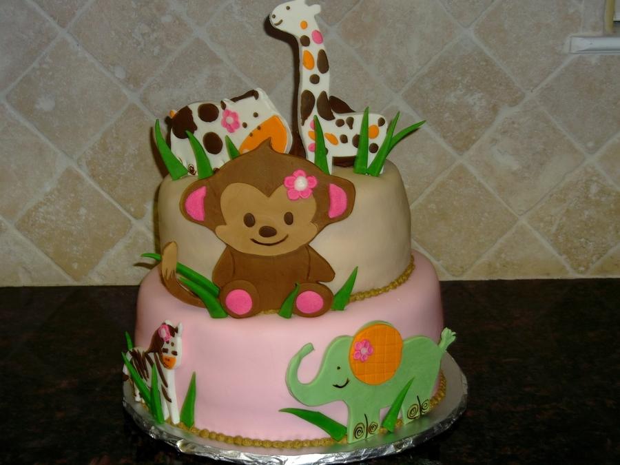 safari animal girl baby shower cake