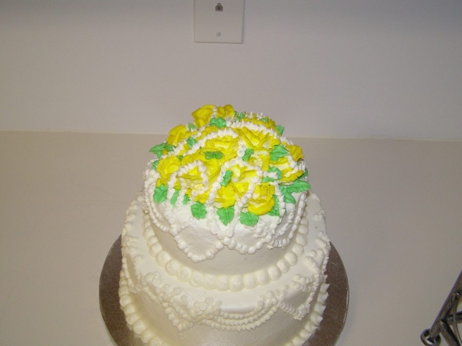 Yellow Rose, And Pearl Wedding Cake on Cake Central