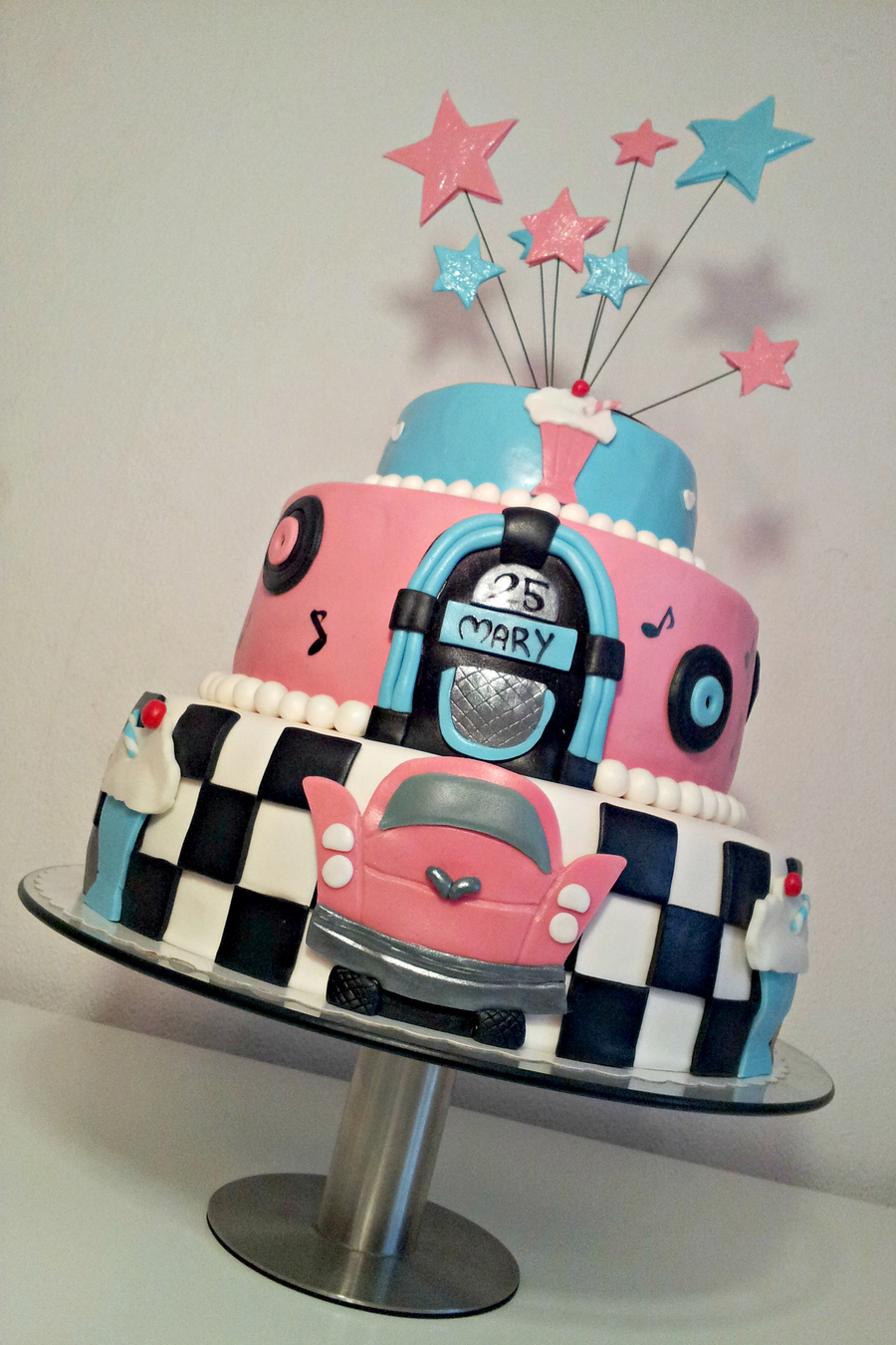 50 s theme cake for 60 s decoration ideas