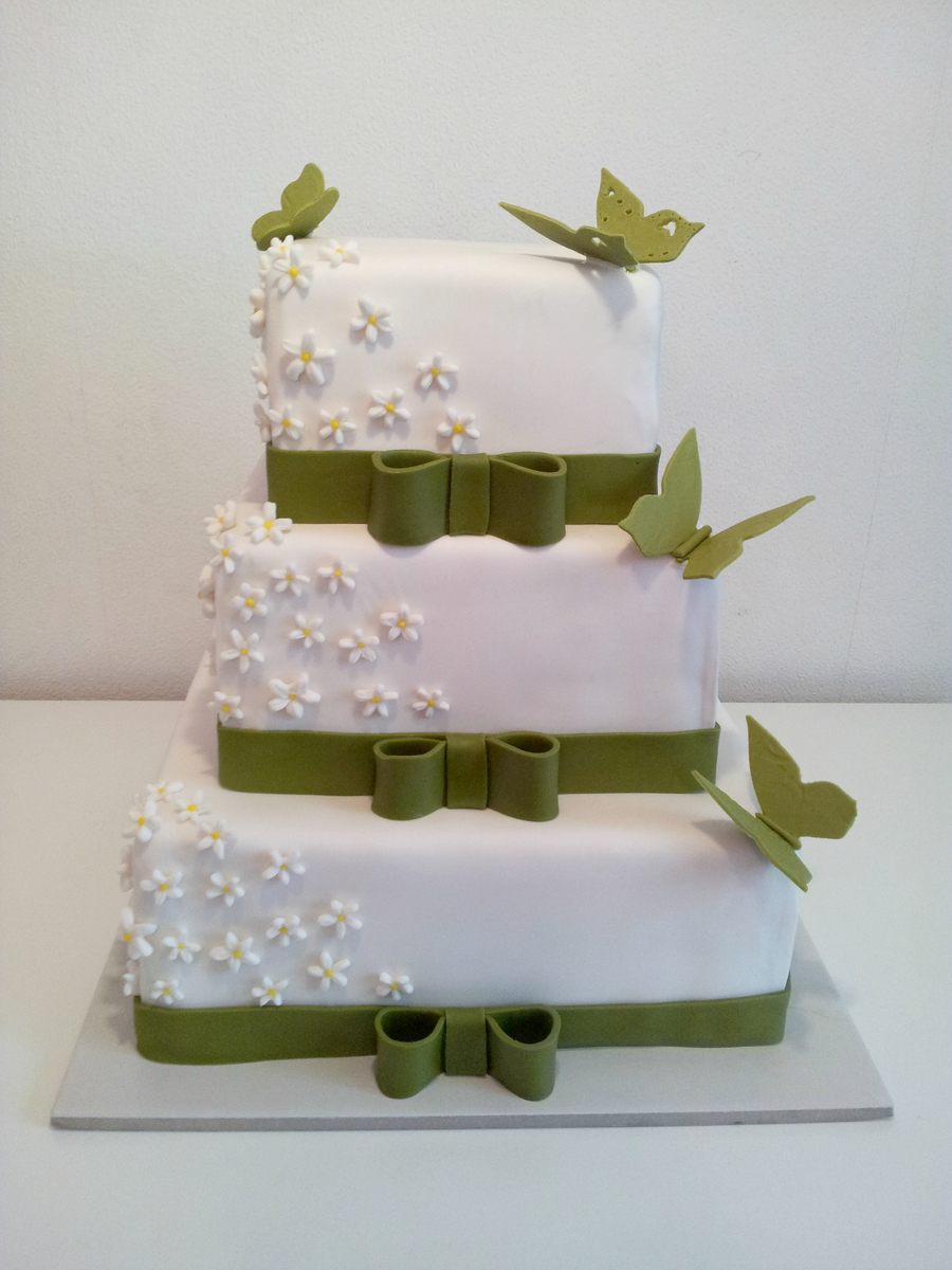 Wedding Cake With Butterflies And Jasmin-Flowers - CakeCentral.com