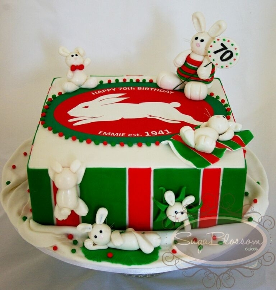 South Sydney Rabbitohs Rugby League Cake - CakeCentral.com