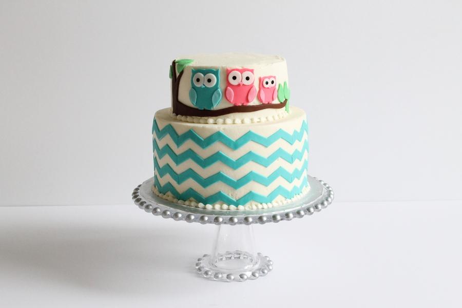 Owl Chevron Baby Shower Cake Cakecentral