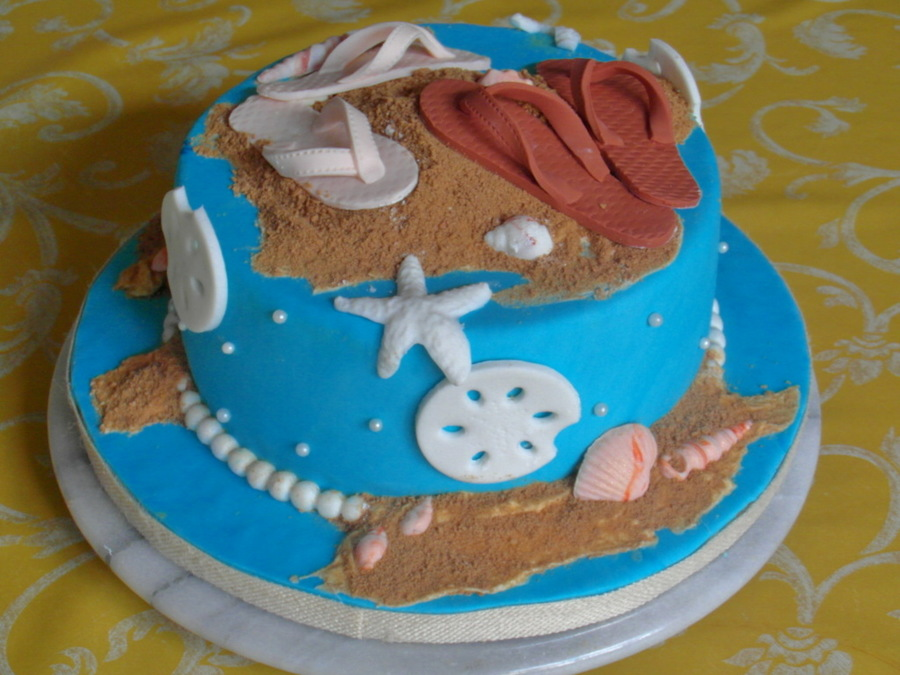 Sandals At The Beach Anniversary Cake on Cake Central