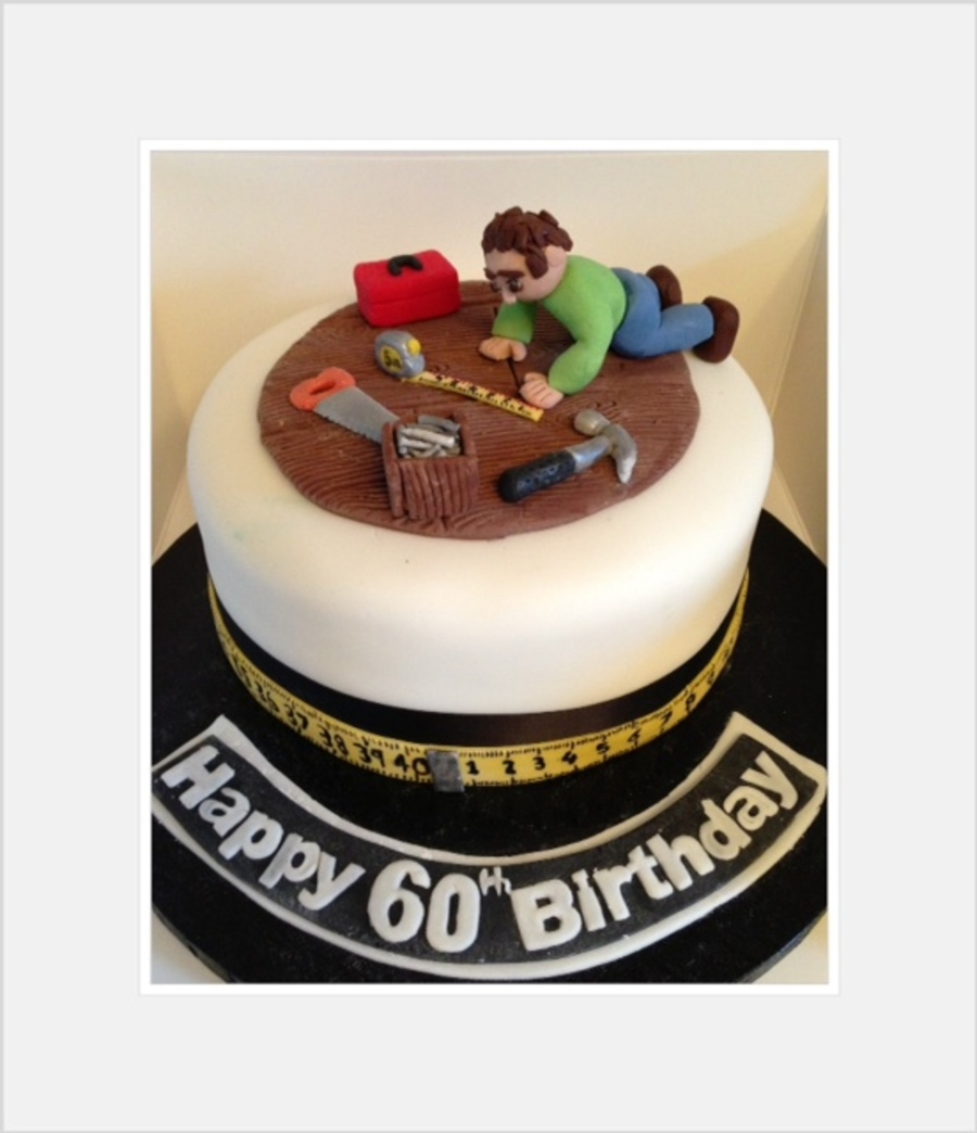 DIY Man Cake With Miniature Tools For 60th Birthday