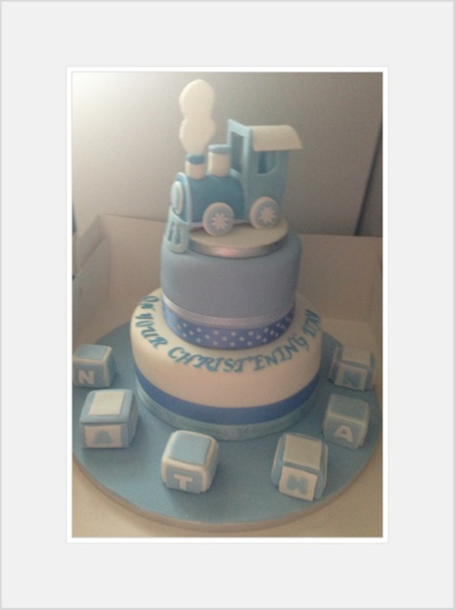 Christening day cake train and alphabet blocks blue and for Alphabet blocks cake decoration