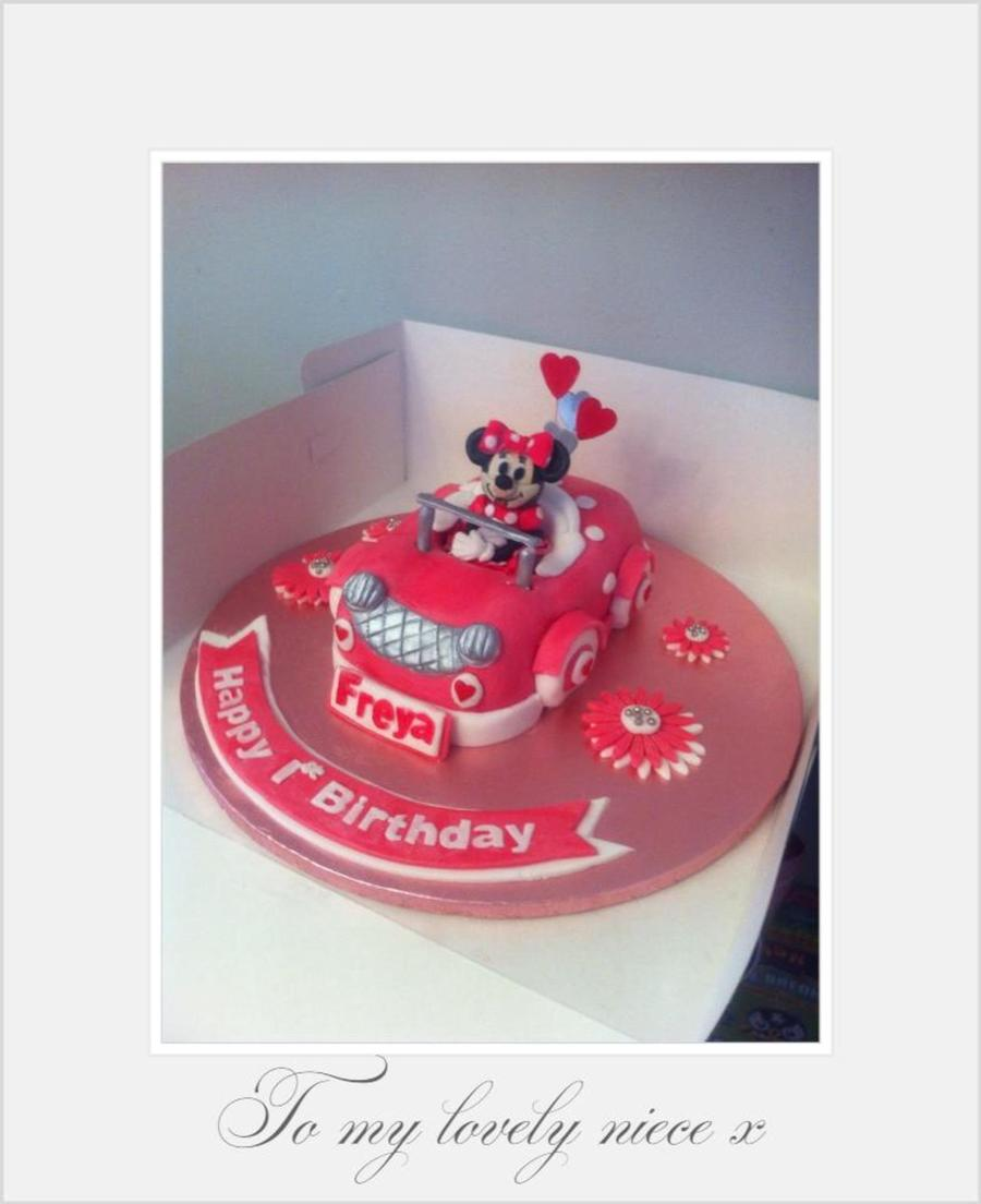 Minnie Mouse In Her Pink Car Cake For A 1st Birthday Cakecentral