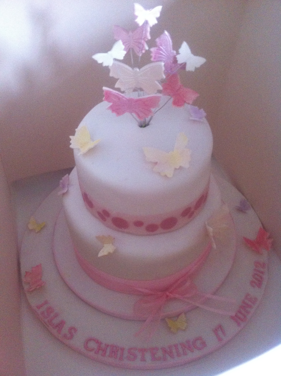 Butterflies Cristening Cake on Cake Central