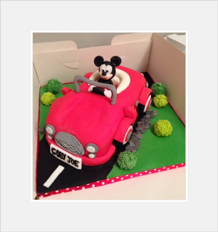 Mickey Mouse In His Car Cake Disney 1St Birthday CakeCentralcom