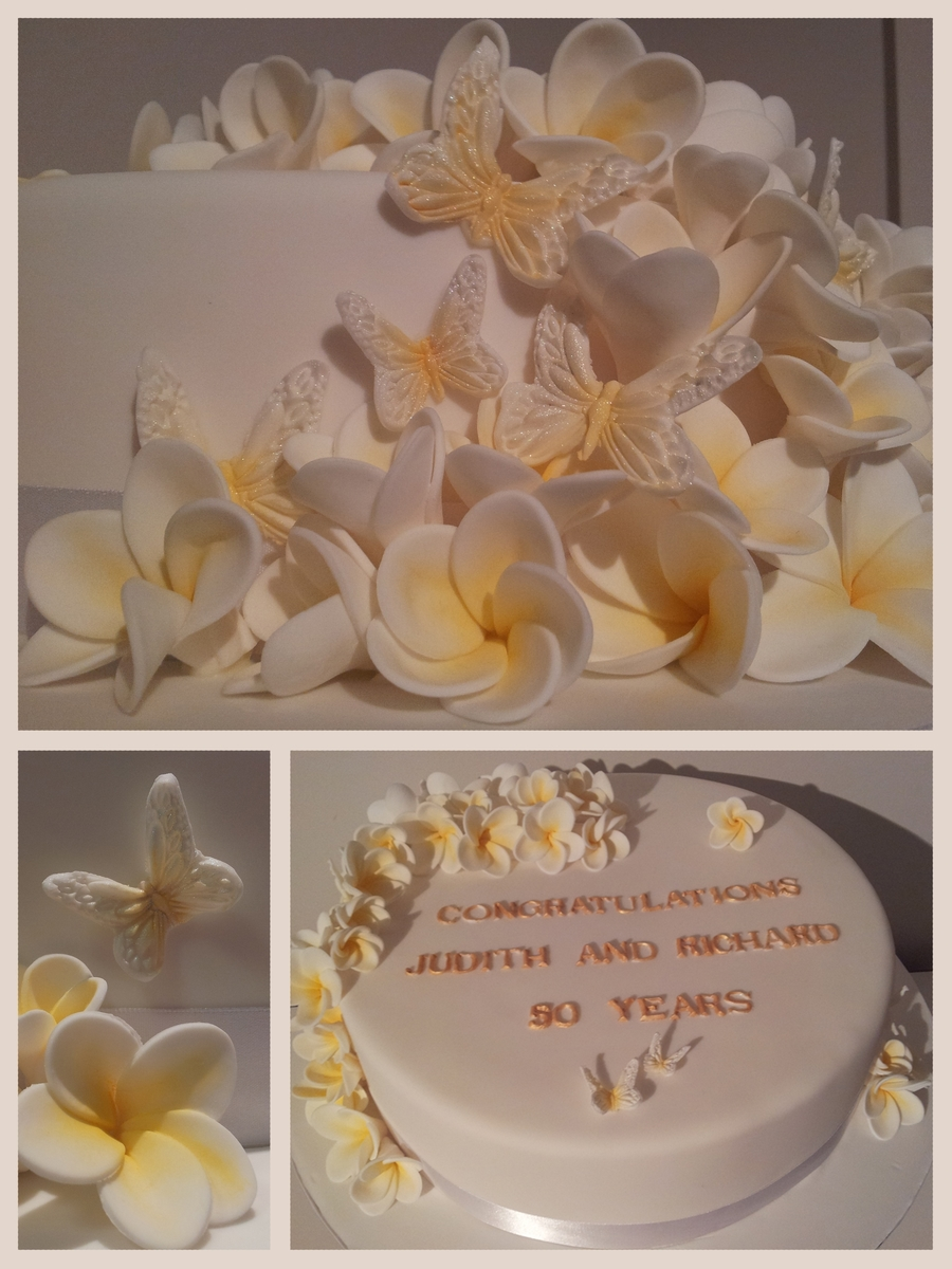 Frangipani 50Th Wedding Anniversary Cake on Cake Central
