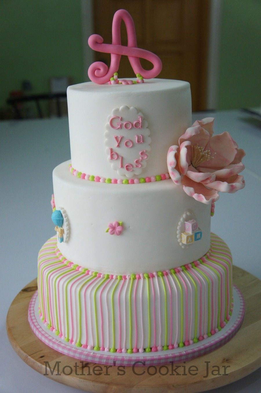 Baby Dedicationchristening Cake For Alexx on Cake Central