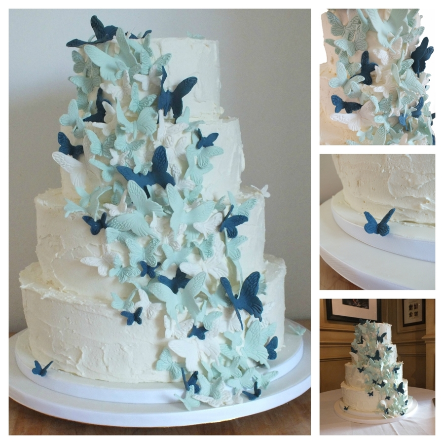 Blue Butterfly Wedding Cake on Cake Central