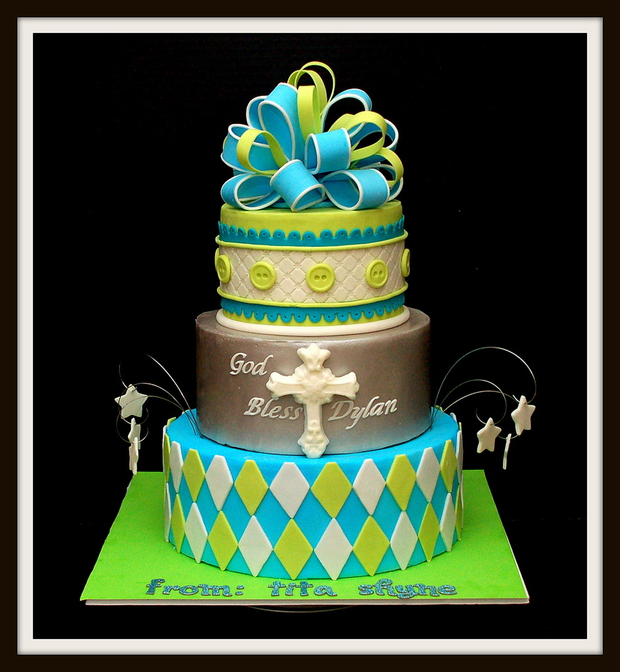 Another Version Of A Previous Design For Christening Cake on Cake Central