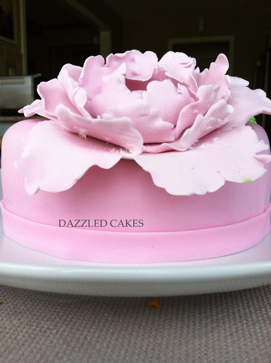 Cake With Fondant Peony : Cake With Peony - CakeCentral.com