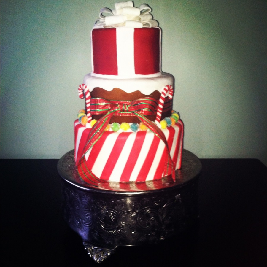 Christmas Cake Peppermint Stripe Bottom Tier Ginger Bread Middle Tier And A Present For The Top Tier on Cake Central