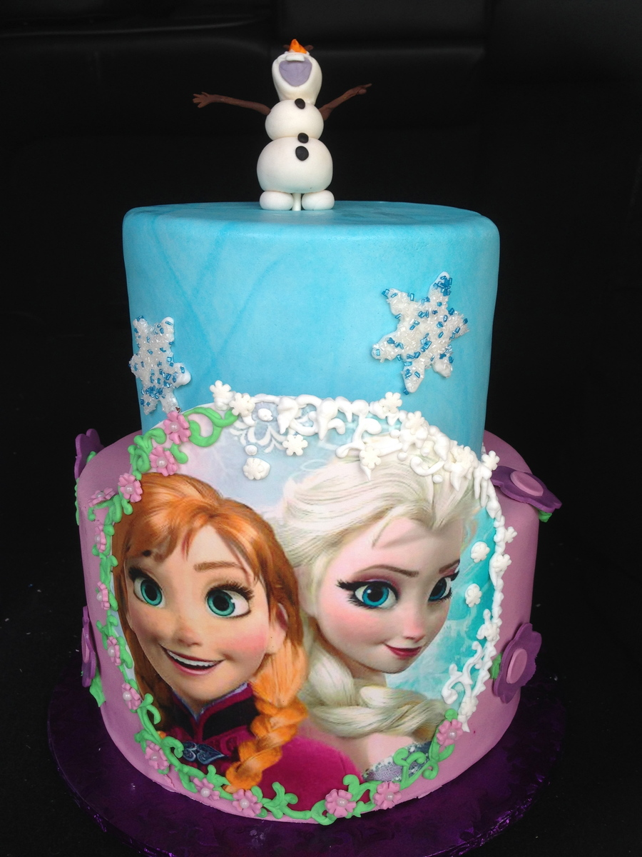 Frozen Birthday Cake With Edible Image Of Elsa And Ana Olaf Is Made