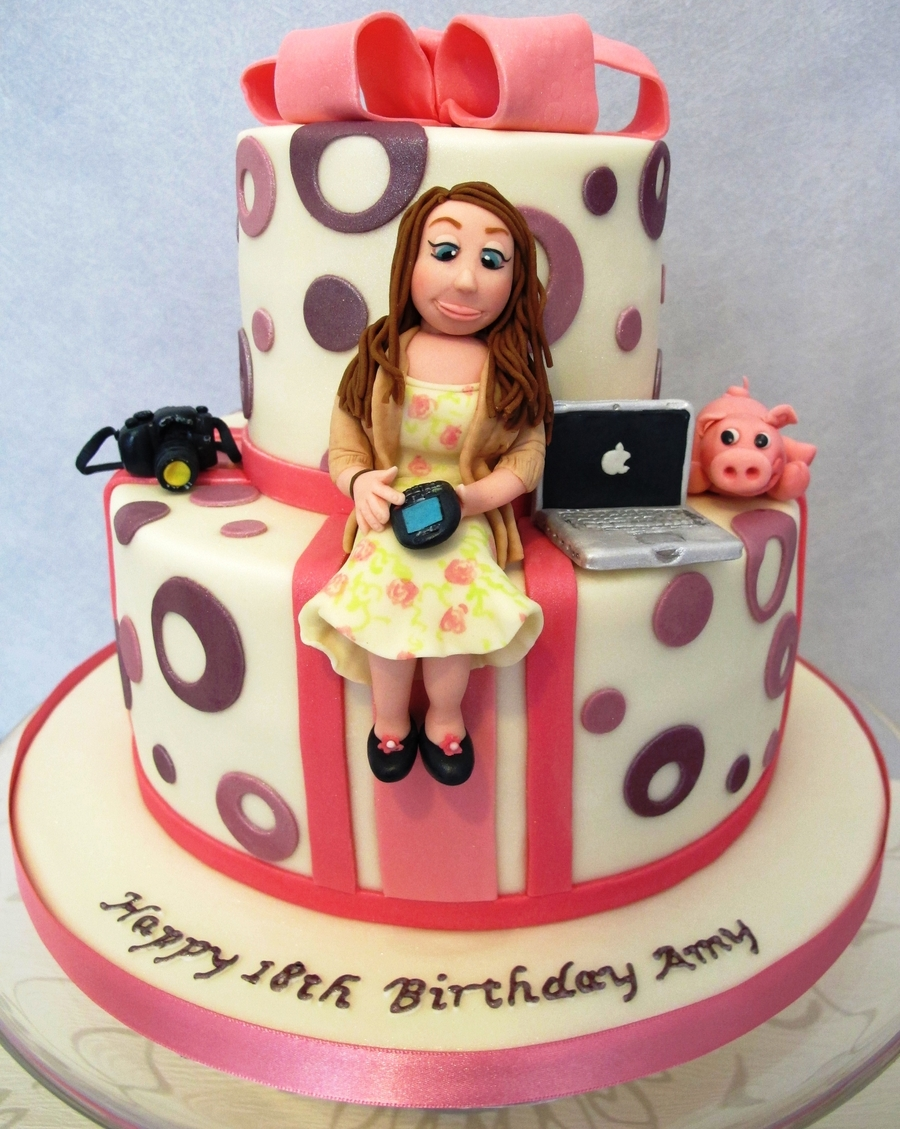 2 Tier 18th Birthday Cake With Sugar Models And Mini Accessories