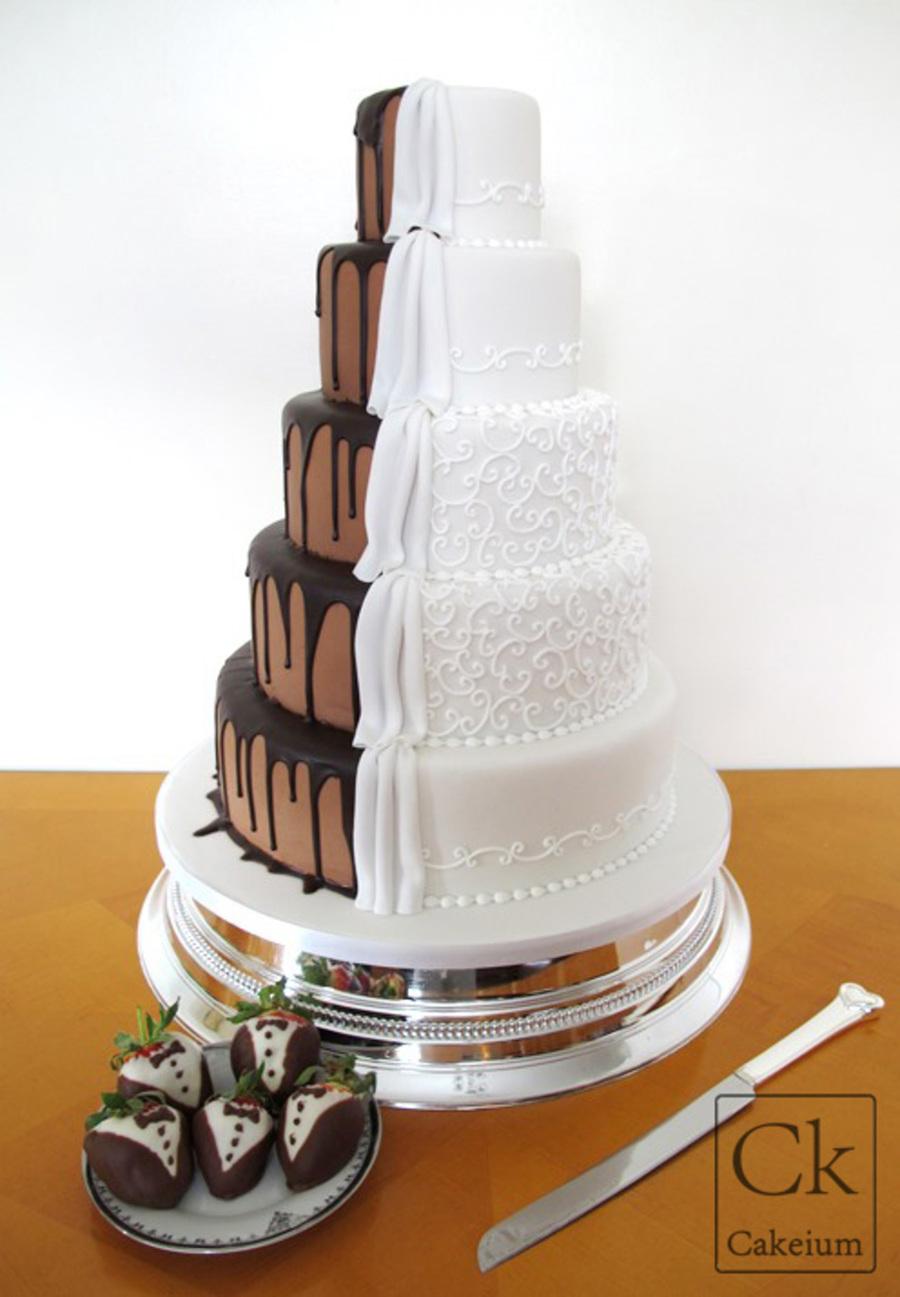 2 Sided Wedding Cake-Chocolate Vs. Classic - CakeCentral.com