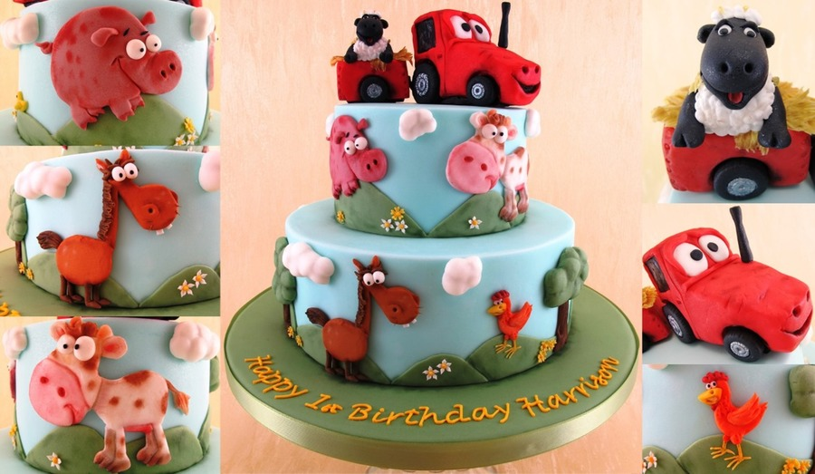 Farm Themed First Birthday Cake on Cake Central