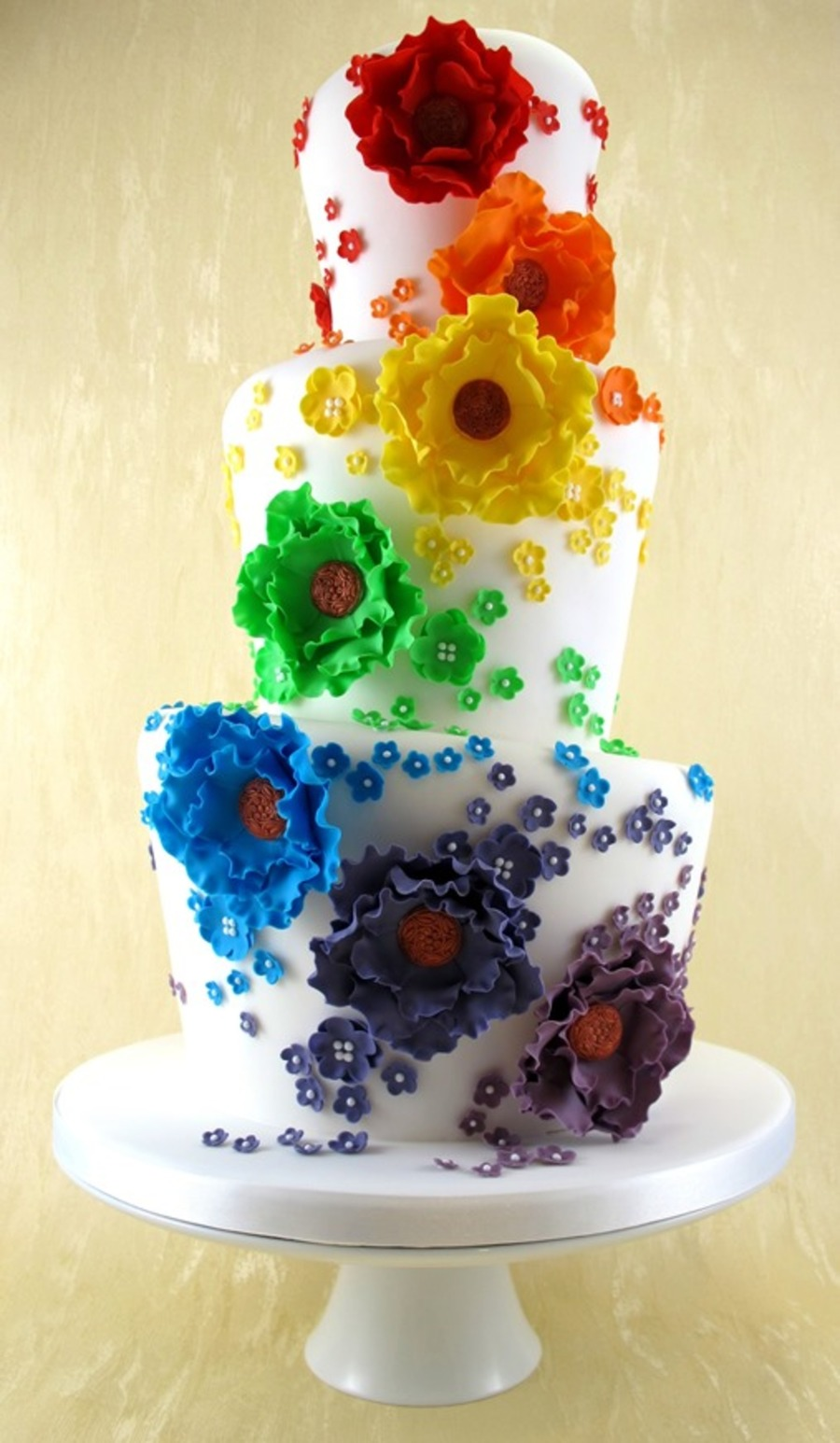 Rainbow Wonky Wedding Cake on Cake Central