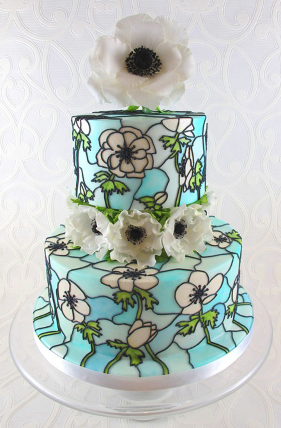 Anemone Stained Glass Wedding Cake on Cake Central