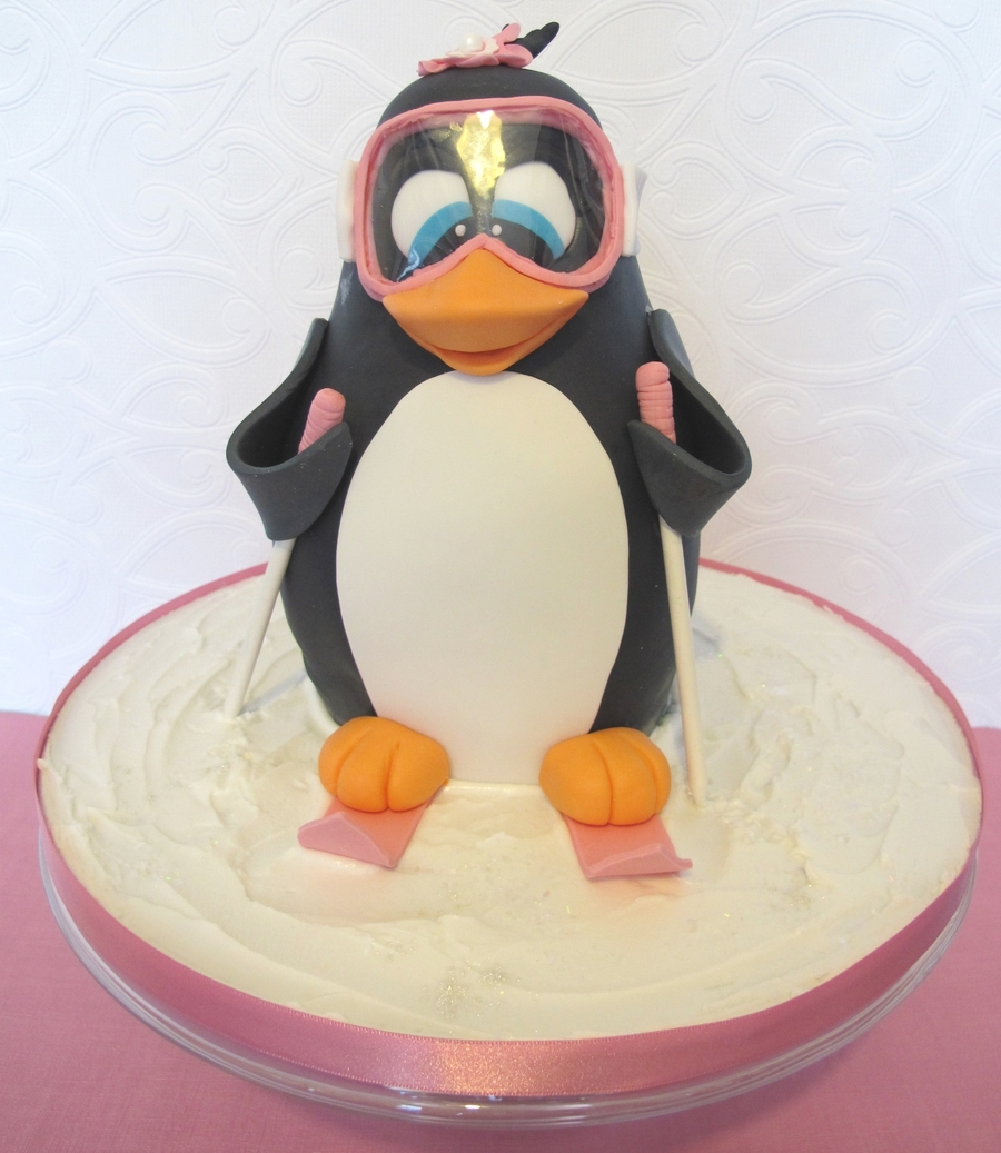 3D Skiing Penguin Cake  on Cake Central