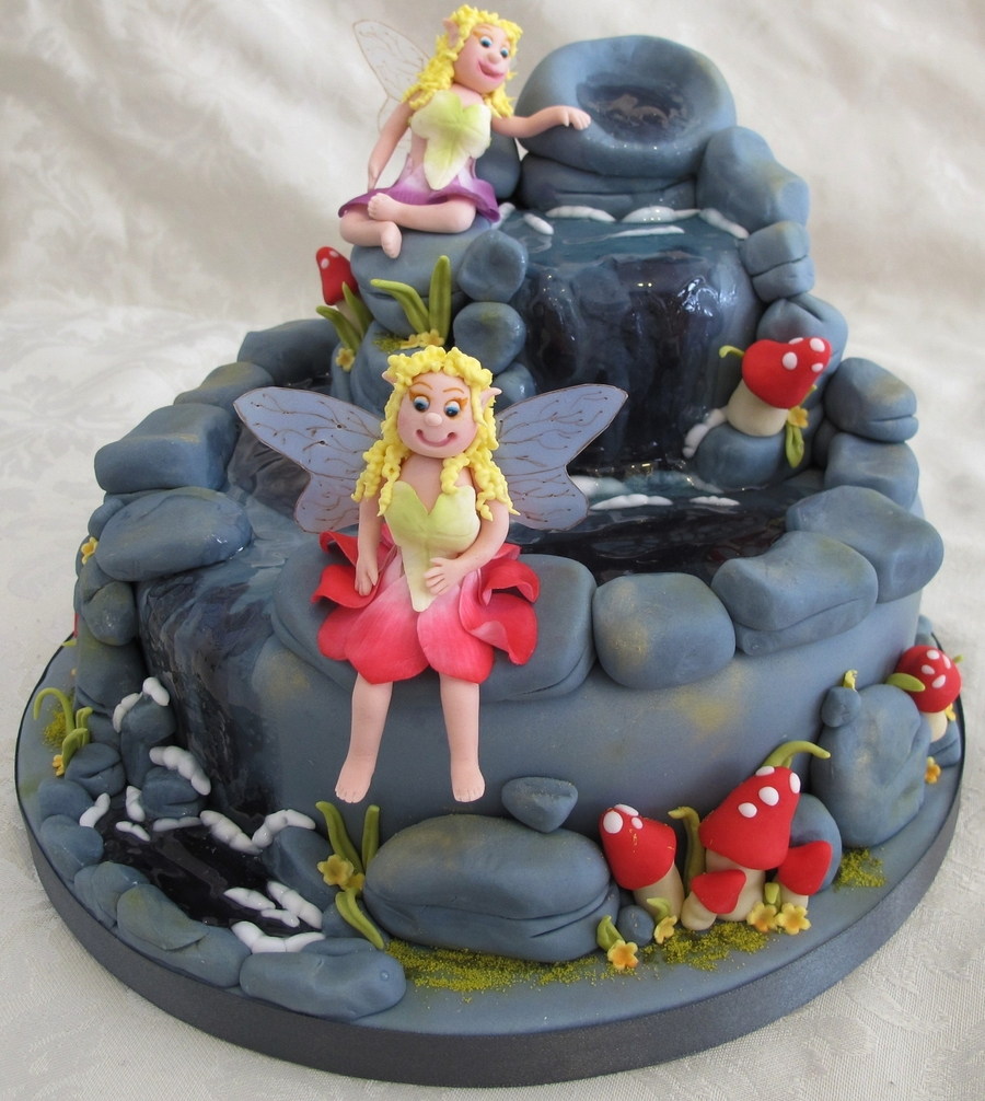 Fairies On Waterfall Cake  on Cake Central