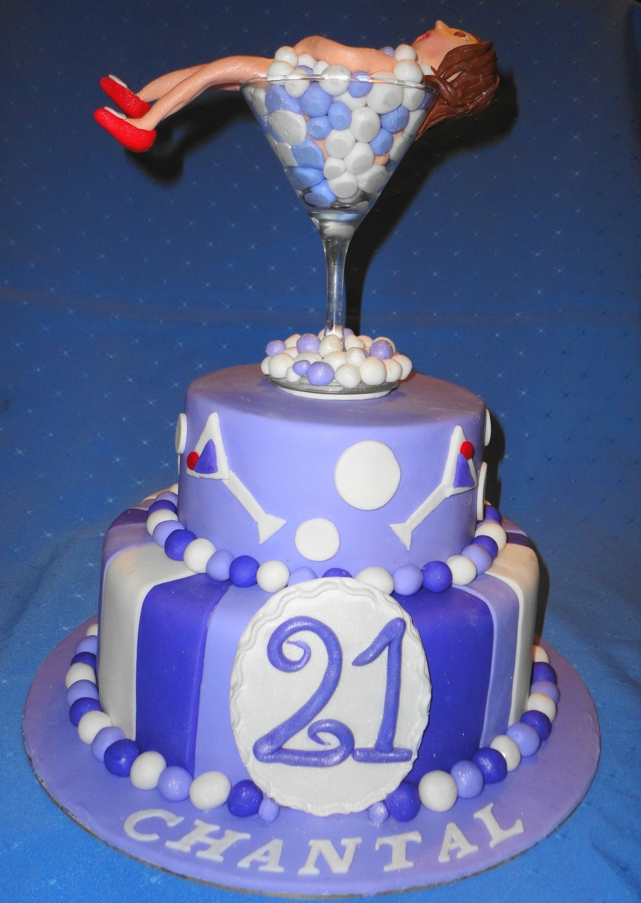 21St Cocktail Themed Cake on Cake Central