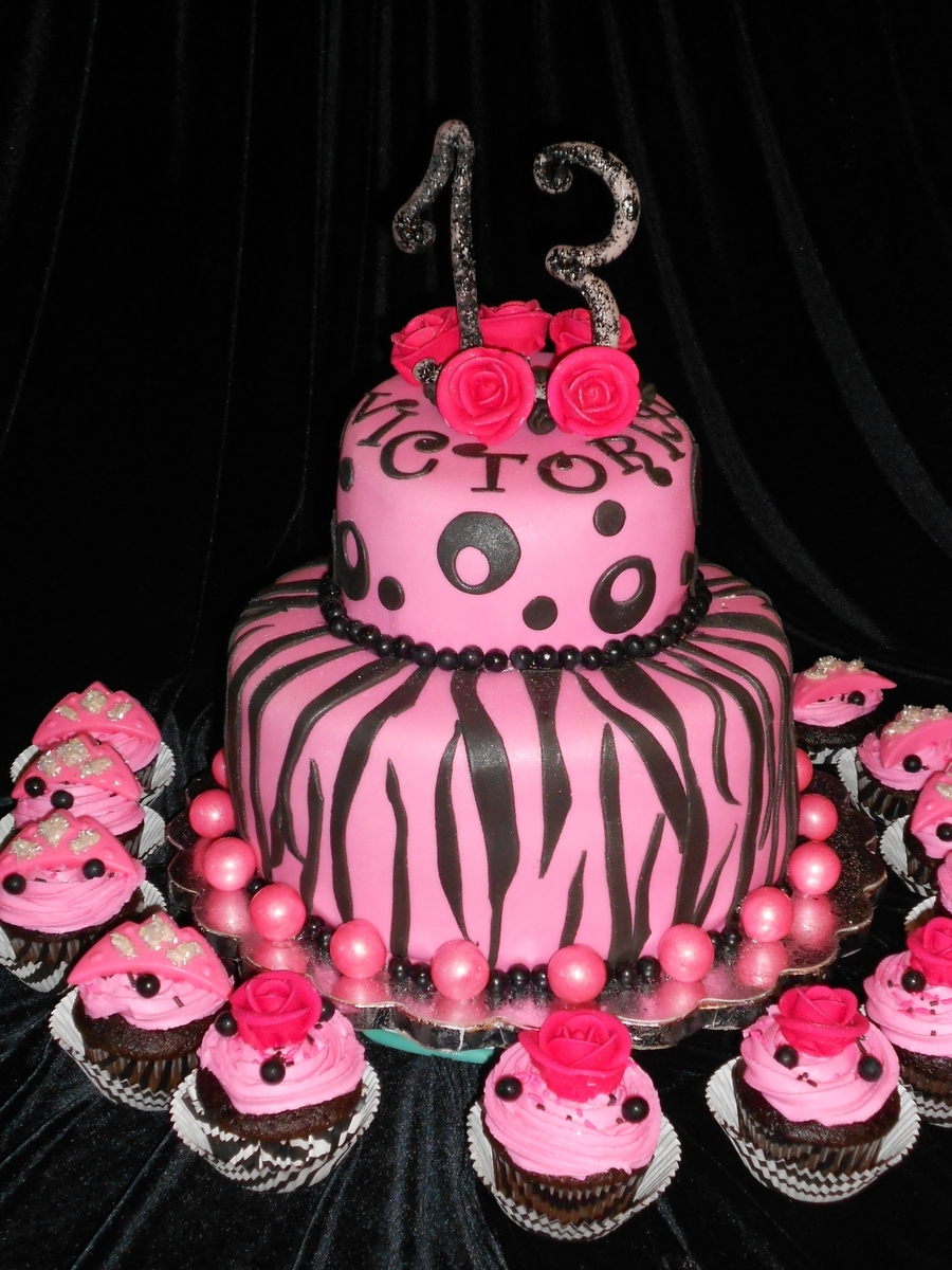 Zebra On Hot Pink  on Cake Central
